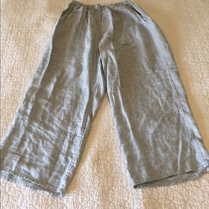 FLAX linen pants. Small. Cream w/ pattern stitch.